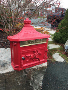 Red Victorian wall mail box brand new never used