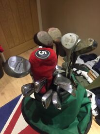 Full set of golf clubs, xenon and full set of Wilson clubs, pitching wedges, putters, topflite