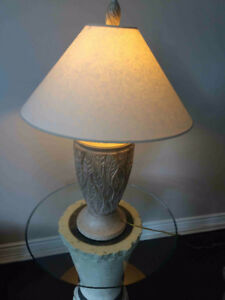 HOME DECOR: ACCENT TABLE WITH ROUND, GLASS TOP PLUS LAMP DESCRIP