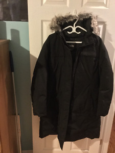 One ladies black North Face Parka goose down