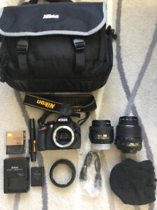 Nikon D3200 DSLR kit with 2 lenses and accessories