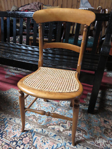 1880'S BURLE MAPLE CANED CHAIR IN EXCELLENT CONDITION