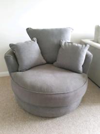 Cuddle Swivel Chair - Love Seat in Dark Charcoal Grey Fabric RRP £600