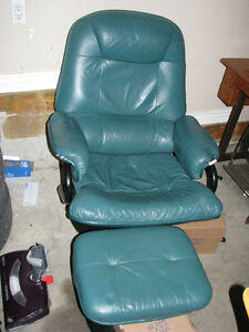 Reclining leather chair and foot rest