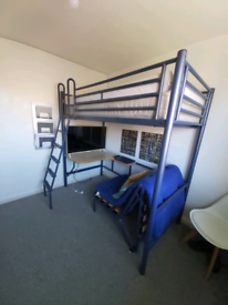 High rise bed with pullout futon and desk