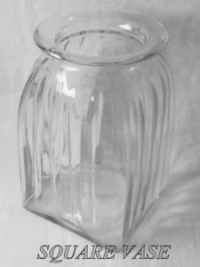 Clear glass vase, heavy square base fluted sides wide mouth 3.5l