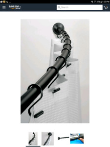 Black Matte Curved Shower Curtain Rod