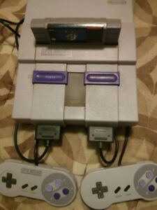 Super Nintendo SNES with 2 Controllers & Super Mario World