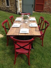 Cast iron dining table and chairs