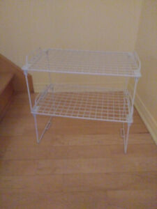 "2 Stackable Wire Shelves - 18""x12""  $8 each"