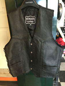 2 mens black leather vests
