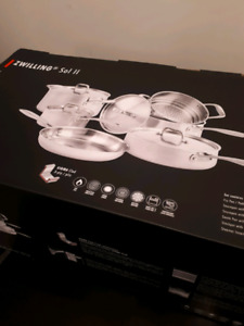 Brand New Zwilling 10pc 18/10 Steel  3 Ply Cookware Set