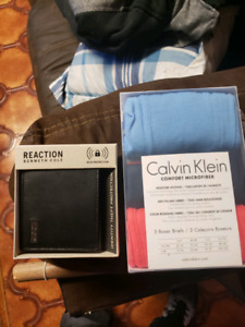 Brand new wallet and boxers.