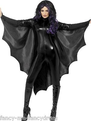 Fledermausflügel Ärmel Halloween Kostüm Kleid Outfit (Schwarz Flügel Halloween-kostüme)