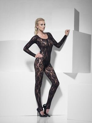Body Stocking sexy Dessous Spitze schwarz Bodyanzug - Body Bunny Kostüm