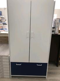 Brand New 2 door 1 drawer, white & blue wardrobe.