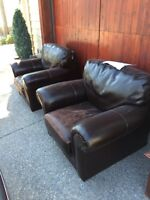 Leather chair pair