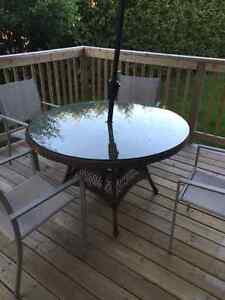 Patio Table, Umbrella and 6 Chairs for sale - URGENT MOVING SALE