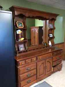 Solid maple dresser and wardrobe