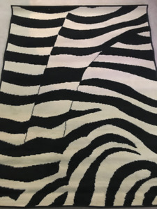 "Miami Collection Black Zebra Rug 3'3"" x 5'3"" 8563 ZEBRA"