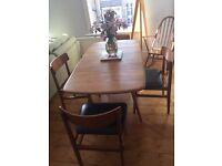 Ercol drop leaf blonde dinner / dining table retro / vintage