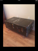 Antique Military Trunk- Army - Industrial - Coffee Table