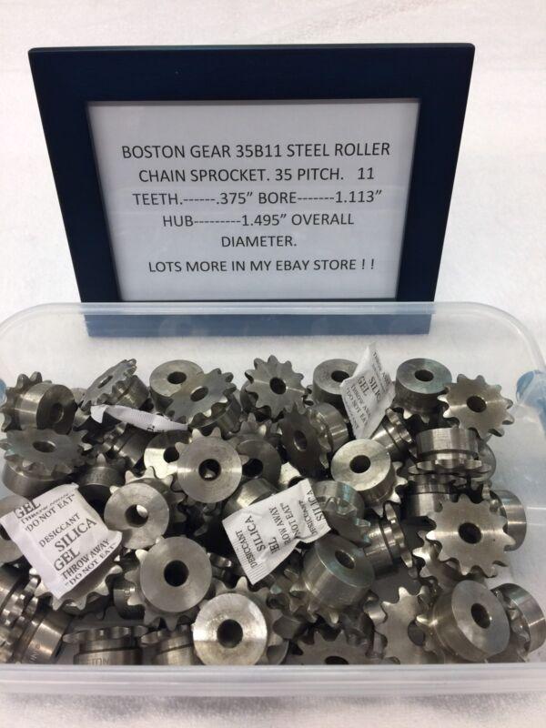 "BOSTON GEAR STEEL SPROCKET 35B11 3/8"" BORE CLOCK TELESCOPE LATHE HOBBY"