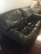 Lounge Suite - Black Leather - Red Stitching - Good Condition Bedford Bayswater Area Preview