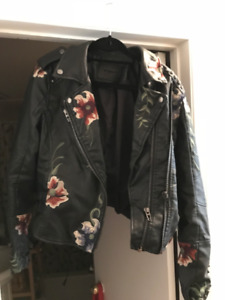 [BLANKNYC] Women's Black Vegan Leather Floral Embroidered Jacket