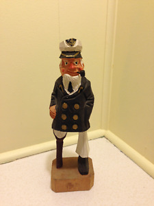 Wooden Carved Painted Sea Captain Figurine Peg Leg