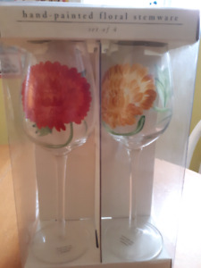 Hand painted wine glasses $15