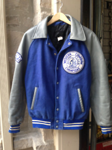 VINTAGE LEATHER JACKET 1986 WESTERN CANADIAN CHAMPS LETHBRIDGE