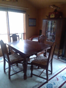 Antique Dining Table And Chairs With Buffet