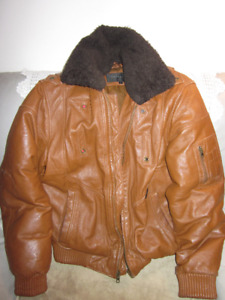 AUTHENTIC MENS SEAN JOHN ALL LEATHER LUX AVIATOR JACKET SIZE L