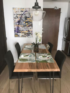 Solid Maple Wood Live Edge Dining Table & 4 EQ3 Chairs