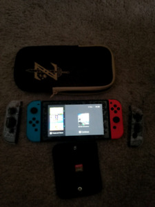 Nintendo switch with carry case and zelda