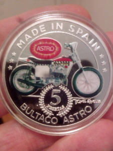 LARGE 40mm BULTACO ASTRO MADE IN SPAIN COIN.