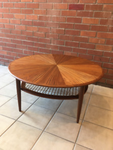 Vintage Round Rosewood and Teak Coffee Table - Free Delivery