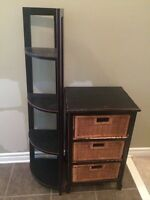 Corner shelf and 3 drawer unit