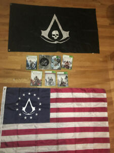 XBOX 360 ASSASSIN'S CREED COLLECTION and FLAGS. Everything per t