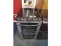 ZANUSSI 55CM CEROMIC TOP ELECTRIC COOKER IN SILIVER. H