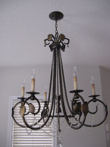chandelier - wrought iron and chrystal