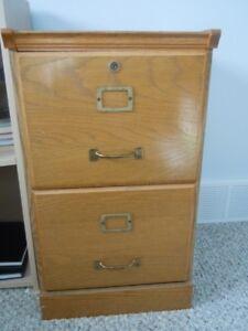 File Cabinet Oak wood/veneer (all sides) Two sliding file drawer