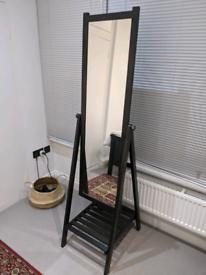 Full length mirror with shelf