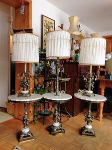 Superbe ensemble de Tables et Lampes Marbre Italien