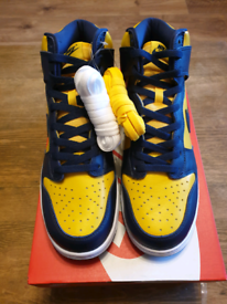 UK Size 9.5 Nike Dunk High Michigan deadstock .