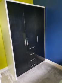 Black gloss and white tripe wardrobe