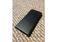 "Black Leather iPhone 6s Plus (5.5"") Flip Case - New"