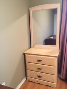 Solid wood dresser with a mirror