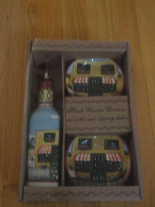 Handpainted Vinegar bottles and dipping dish set of 3 Brand new